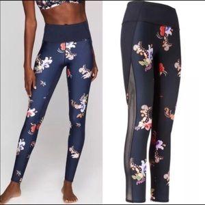 Athleta Navy Gilded Tux Chaturanga Floral Leggings